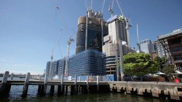 The Barangaroo development site seen from King Street wharf