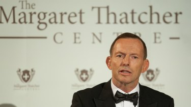 Tony Abbott's speech to the US lobby group follows a speech to British conservatives in October.