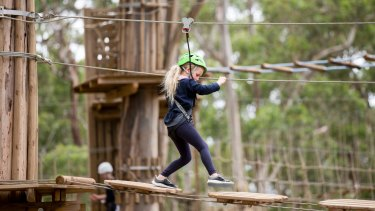 Children can challenge themselves at Live Wire Park, Lorne.