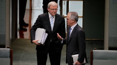 Kevin Rudd and Malcolm Turnbull back in 2011.