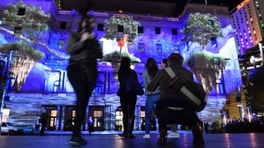 Vivid light projections on Customs House, Sydney.