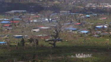 A village near Port Vila, Vanuatu, a week after Cyclone Pam passed through.