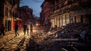 Debris in Bhaktapur, Nepal, after the 7.8 magnitude earthquake hit Kathmandu.