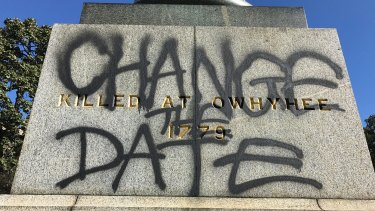 The statue of Captain James Cook in Sydney's Hyde Park was defaced last weekend.