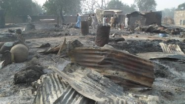 The remnants of houses in Dalori village, 5 kilometres from Maiduguri.