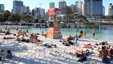 Plenty of people chose to escape the heat at Brisbane's city beach.