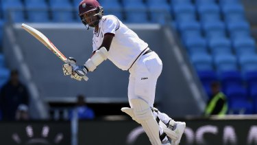West Indies' opener Kraigg Brathwaite hits a boundary during his knock of 94 in the second innings. He was one of only three to reach double figures.
