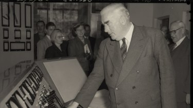 Prime Minister Robert Menzies opens Guthega Power Station, part of the Snowy River Scheme, on April 23, 1955.