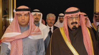 Saad Hariri (background left) and his brother Baha al-Din Hariri (left) receive condolences from then Saudi Crown Prince Abdullah (right) in Riyadh after the assassination of their father in February 2005. Saad Hariri is a Saudi citizen.