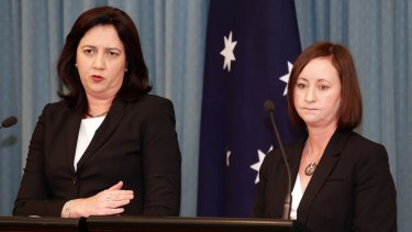 Premier Annastacia Palaszczuk and Attorney-General Yvette D'Ath announce legislation that removes the statute of limitations for victims of child sex abuse in institutions.