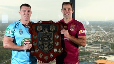 Rival captains Paul Gallen and Cameron Smith at the State of Origin series launch in Melbourne.