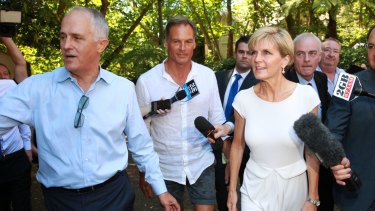 Hearty welcome: Malcolm Turnbull, David Panton and Julie Bishop.