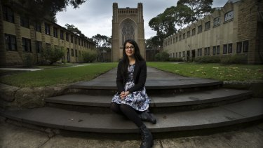 Theresa Chamoun, 22, at Newman College chapel.