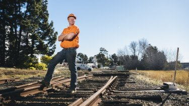 Access Recycling branch manager Ben Greentree at the old Shell depot rail lines that will  be put back in action.