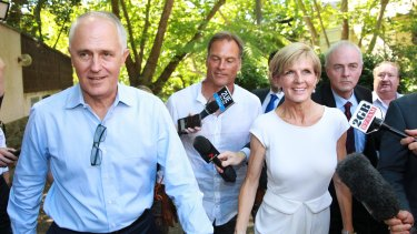Malcolm Turnbull and Julie Bishop arrive at Rosemont House in Woollahra for Liberal Party fundraiser in February.