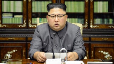 North Korean leader Kim Jong-un delivers a statement in response to US President Donald Trump's speech to the United Nations, in Pyongyang.