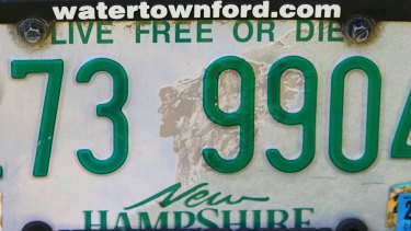 """A New Hampshire licence plate featuring the state motto """"Live Free or Die"""" in Rindge, New Hampshire."""