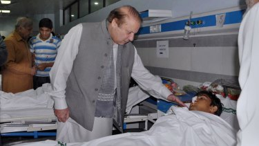 Pakistan's Prime Minister Nawaz Sharif, seen here comforting a victim of the Lahore bombing in March, had vowed to target the Taliban.