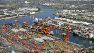 Swanson Dock foreground and Webb Dock background make up The Port of Melbourne Monday.