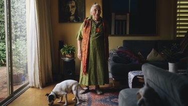 Barbara Blackman at home with her dog, Jack, in Yarralumla in Canberra.
