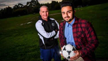 The 'Singing Wolf': Brunswick Juventus legendary 1970s-80s player, Fabio Incantalupo (literally, singing wolf) reunited with his old club through a trophy won by under 17 player Faisal Totakhil,  child of Afghani refugee parents.