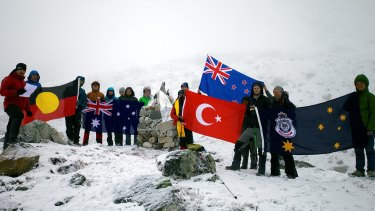 Veterans and descendants of Anzac soldiers gathered at last year's Anzac Day ceremony in the Himalayas, just a few hours before Nepal's 7.8 magnitude earthquake struck.