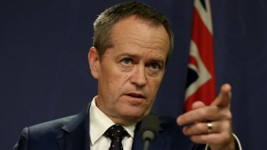 Opposition Leader Bill Shorten addresses the media during a press conference on Friday.