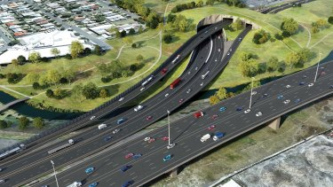 The interchange for the Western Distributor that will slice through the Hyde Street Reserve.