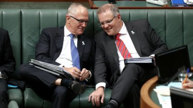 Communications Minister Malcolm Turnbull and Immigration Minister Scott Morrison in Question Time.