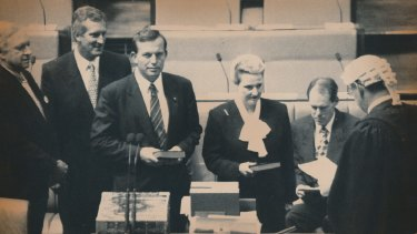 Bronwyn Bishop is sworn in at the House of Representatives, alongside Tony Abbott, in 1994.
