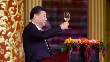 China's President Xi Jinping delivers a toast at a state dinner at the Great Hall of the People in Beijing, China.