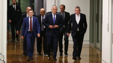 Malcolm Turnbull arrives for the leadership ballot at the party room in Parliament House in Canberra on Monday.