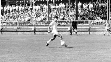 Gone but not forgotten: Johnny Warren turns out for St George at Wentworth Park in 1970.