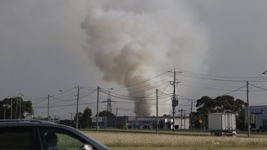 The plume of smoke from the Somerton waste tip fire.