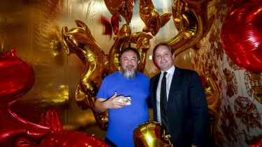 Artist, human rights champion and political dissident Ai Weiwei with Tony Ellwood, director of the National Gallery of Victoria