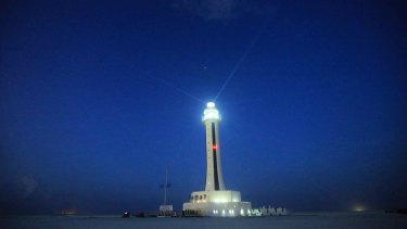 The lighthouse inaugurated this week by China on Zhubi Reef of Nansha Islands in disputed waters of the South China Sea.