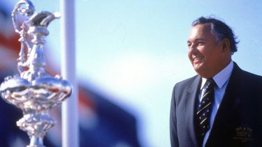 Alan Bond, quintessential '80s figure, waits to get his hands on the America's Cup in Fremantle in 1987.