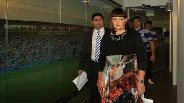 """Castle with Canterbury Bulldogs Chairman Ray Dib, left. """"She's been a great coup for our club,"""" he says."""