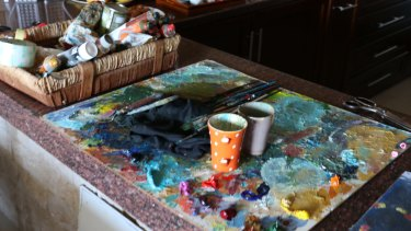 The kitchen bench in the Gaza apartment of Palestinian artists Maha al-Daya and Ayman Eissa.