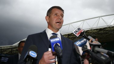 Premier Mike Baird announcing the plan to develop the ANZ Stadium.