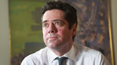 AFL CEO Gillon McLachlan met with the players on Monday.
