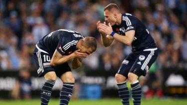 Devastated: James Troisi and Besart Berisha lament a missed shot on goal