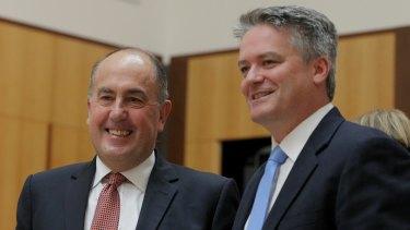 Head of Treasury John Fraser and Finance Minister Senator Mathias Cormann during a Senate estimates on Wednesday.