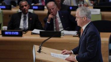 Prime Minister Malcolm Turnbull speaks as US President Barack Obama and Vice-President Joe Biden listen at the Leader's Refugee Summit on Tuesday.