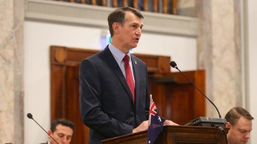 Lord Mayor Graham Quirk delivers his budget speech.