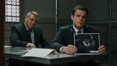 Bill Tench (Holt McCallany) and Holden Ford (Jonathan Groff) take a whole new approach to the cop show in <i>Mindhunter</i>.