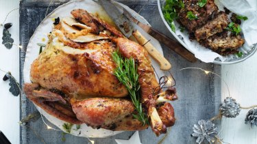Jill Dupleix's dry-brined turkey with herb and lemon stuffing (top right).