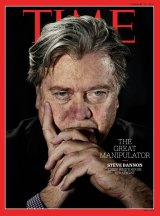 """Bannon is the new face on the coveted front page of <i>Time</i> magazine, alongside the headline """"The Great Manipulator""""."""