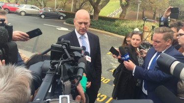 Prospective challenger Dean Nalder arrives at Parliament on Tuesday.