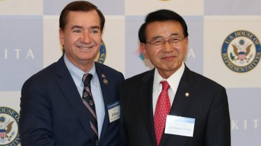 Leading South Korean parliamentarian and former Monash University student Shim Jae-kwon, right, has been thinking about nuclear deterrence for a long time.